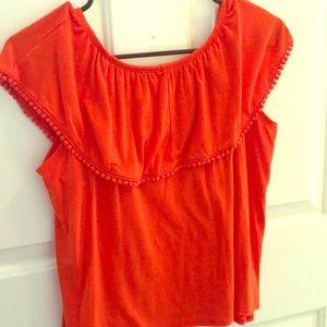 Orange/coral off the shoulder top!
